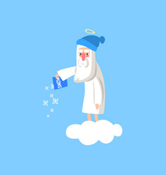 Adorable god cartoon character in action on white vector