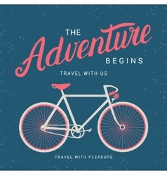 Adventure begins poster with bicycle vector