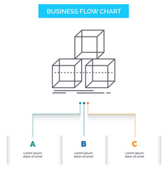 Arrange design stack 3d box business flow chart vector