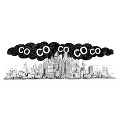 artistic drawing of city covered by smog and co2 vector image