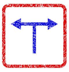 bifurcation arrows left right grunge framed icon vector image