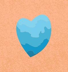 blue heart on an orange background vector image