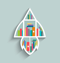 bookshelf in form of rocket with colorful books vector image