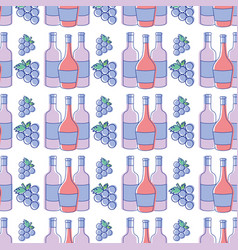 Bottles of wine with bunch of grapes background vector