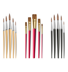 brushes set realistic isolated on white vector image