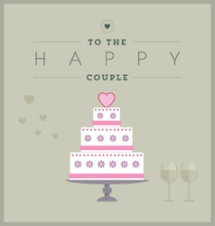 Cake themed wedding card vector