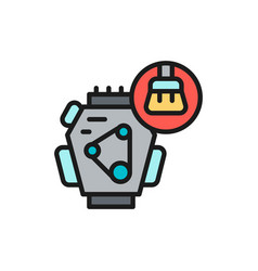 car motor cleaning flat color line icon isolated vector image