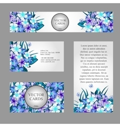 Cards with texture blue flowers and sample text vector
