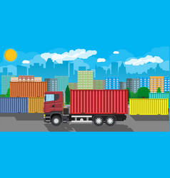 cargo delivery truck with metal container vector image