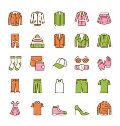 Color linear icon set clothing wardrobe vector