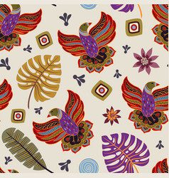 Colorful seamless pattern with decorative birds vector