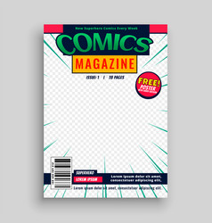 comic magazine book front page template design vector image