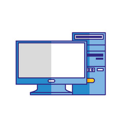 computer monitor cpu tower isolated image vector image