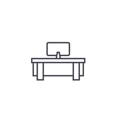 computer table line icon sign vector image