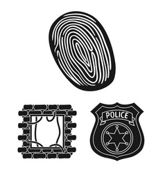 crime and punishment black icons in set collection vector image
