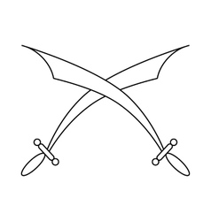 Crossed scimitars icon in outline style vector