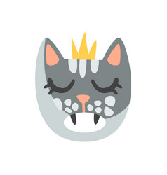 cute cat head in golden crown funny cartoon vector image