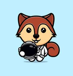 Cute squirrel wearing astronaut suit mascot vector