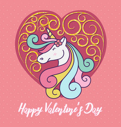 Cute unicorn cartoon character design happy vector