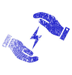 Electricity supply care hands textured icon vector