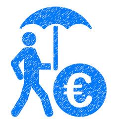 Euro financial umbrella grunge icon vector