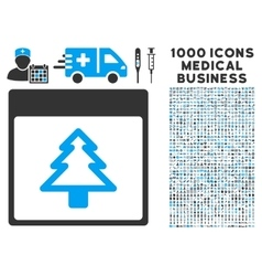 Fir Tree Calendar Page Icon With 1000 Medical vector