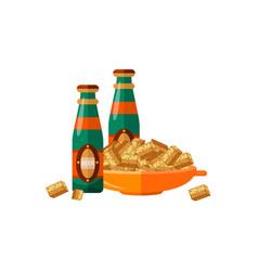 Flat beer glass bottles crispy rusks pot vector