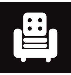 Flat icon in black and white style armchair vector