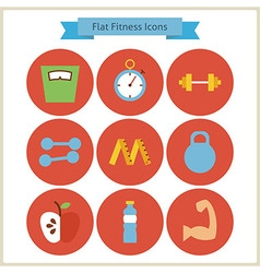Flat Sport and Fitness Icons Set vector image
