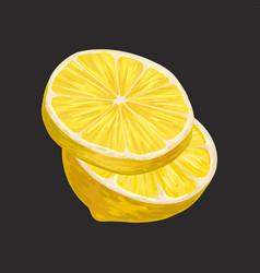 Fresh sliced lemon sour citrus fruit vector