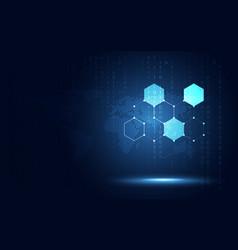 Futuristic blue hexagon honeycomb abstract vector