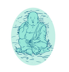 Gautama buddha lotus pose drawing vector