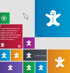 Gingerbread man icon sign buttons Modern interface vector