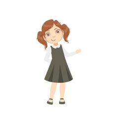 Girl In Black Dress Happy Schoolkid In School vector