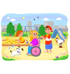 Girl on wheelchair with friends vector