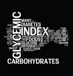 Glycemic index text background word cloud concept vector