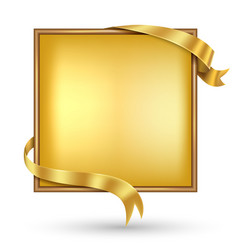 gold banner with gold ribbon vector image