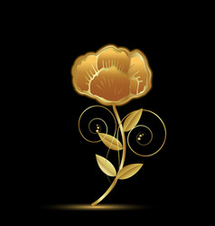 gold flower rose on black background vector image