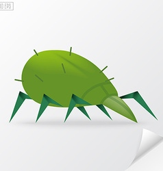 Green cartoon mite in vector