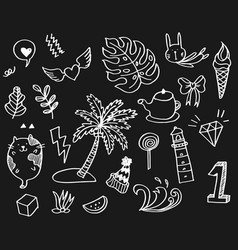 Hand-drawn cute doodle set vector