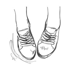 Hand drawn sneakers casual shoes vector