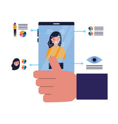 hand with cellphone face scan biometric technology vector image