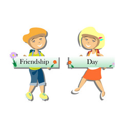 Happy friends enjoying friendship day vector