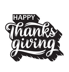 Happy thanksgiving greeting handwritten lettering vector