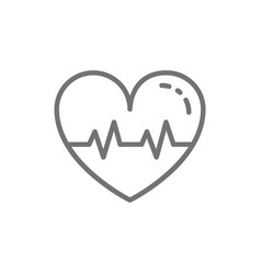 healthy heartbeat line icon isolated on white vector image