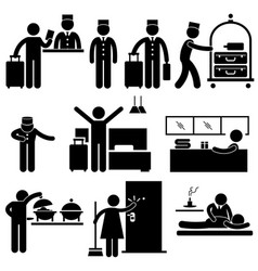 hotel workers and services pictograms a set vector image