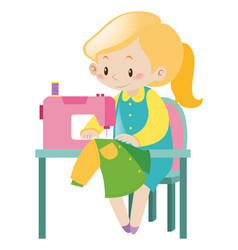 Housewife sewing clothes with machine vector