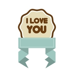 I love you decor blue ribbon label vector