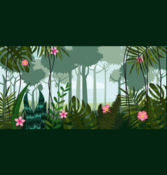 Jungle forest and flowers trees leaves flowers vector