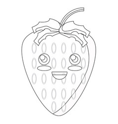 kawaii happy strawberry icon vector image